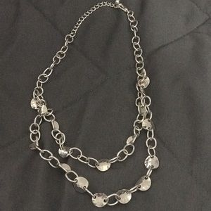 Silver double strand necklace